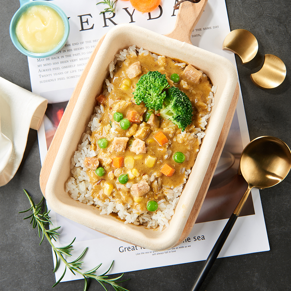 Top thick curry chicken stew rice